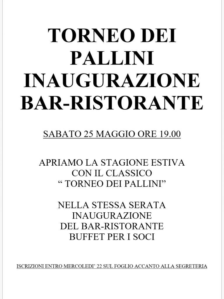 TORNEO DEI PALLINI MAGGIO 2019